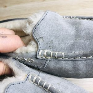 UGG Shoes - UGG GREY ANSLEY LINED MOCCASSIN SLIPPERS
